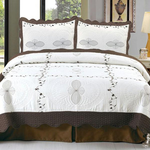 Lavish Home Athena Embroidered Quilt 3 Pc. Set - Full-Queen