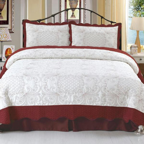 Lavish Home Juliette Embroidered Quilt 3 Pc Set - Full-Queen