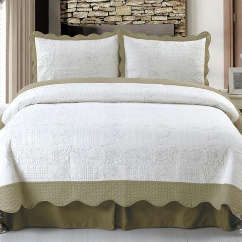 Lavish Home Jeana Embroidered Quilt 3 Pc. Set - Full-Queen