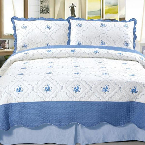 Lavish Home Brianna Embroidered Quilt 3 Pc. Set - Full-Queen