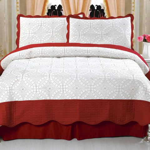 Lavish Home Lydia Embroidered Quilt 3 Pc. Set - King