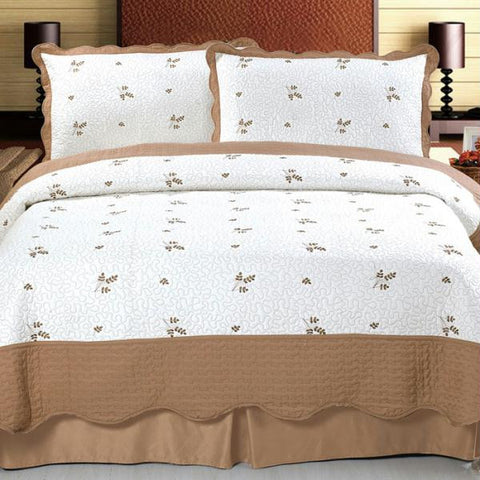 Lavish Home Peyton Embroidered Quilt 3 Pc. Set - Full-Queen