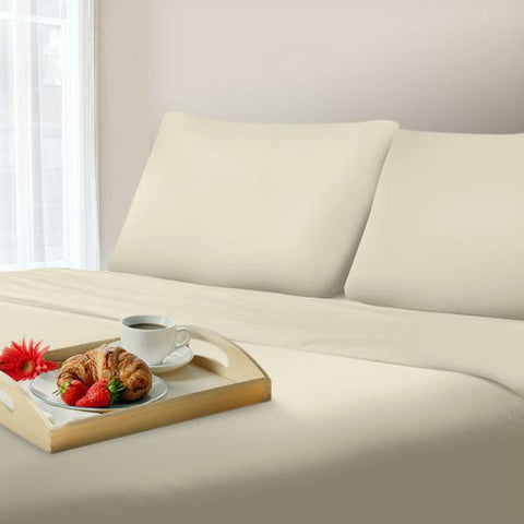 Lavish Home 600 Thread Count Cotton Sateen Sheet Set - King - Ivory