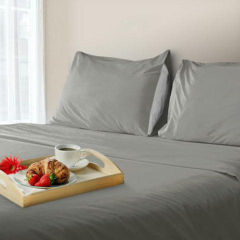 Lavish Home 600 Thread Count Cotton Sateen Sheet Set - King - Silver