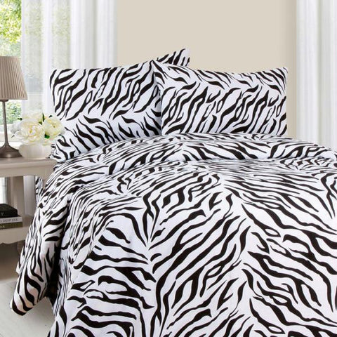 Lavish Home Series 1200 4 Piece Full Sheet Set - Zebra