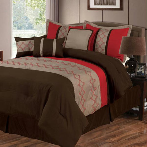 Lavish Home Molly 7 Piece Embroidered Comforter Set - King