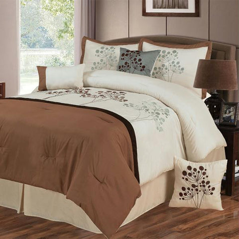 Lavish Home Brooke 7 Piece Embroidered Comforter Set - King