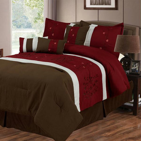 Lavish Home Sarah 7 Piece Embroidered Comforter Set - Queen