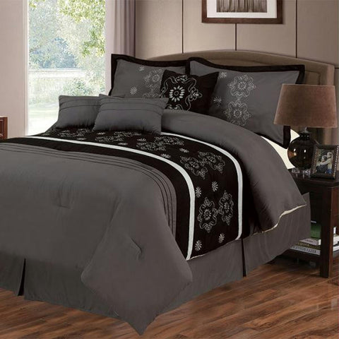 Lavish Home Julia 7 Piece Embroidered Comforter Set - Queen