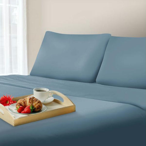 Lavish Home 600 Thread Count Cotton Sateen Sheet Set - Queen - Blue