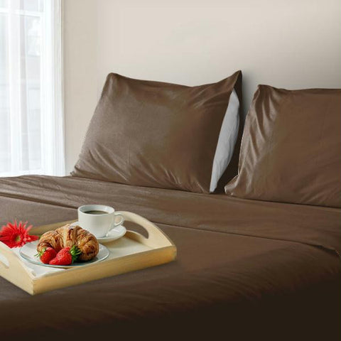 Lavish Home 600 Thread Count Cotton Sateen Sheet Set - Queen - Coco
