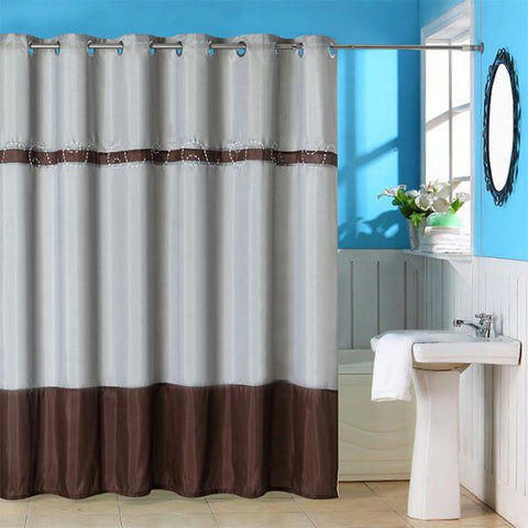 Lavish Home Claridge Embroidered Shower Curtain w- Grommets