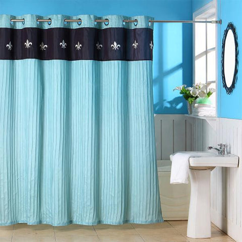 Lavish Home Meridian Embroidered Shower Curtain w- Grommets