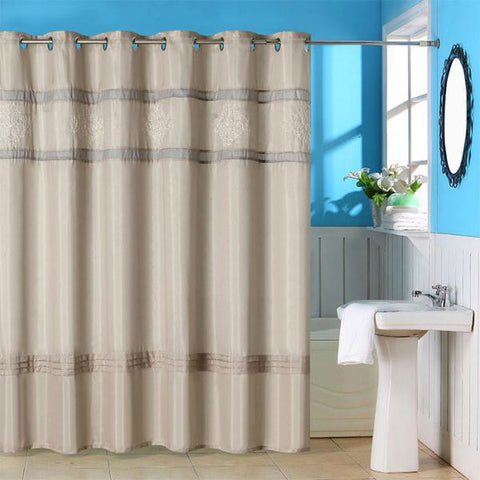 Lavish Home Radcliff Embroidered Shower Curtain w- Grommets