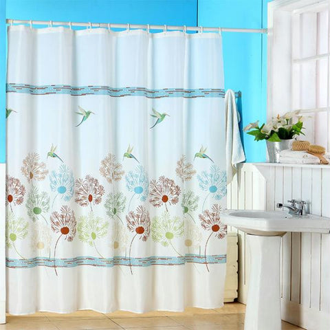 Lavish Home Springtime Printed Shower Curtain w- Buttonhole