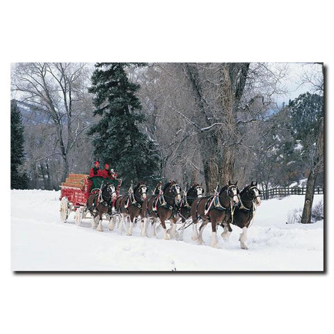 Clydesdales - Snowing in Forest - 16x24 Canvas