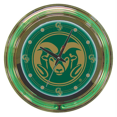 Colorado State University Neon Clock - 14 inch Diameter