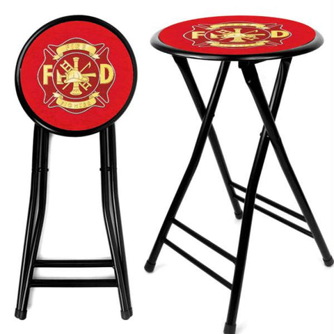 Fire Fighter 24 Inch Cushioned Folding Stool - Black
