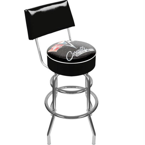 Corvette C2 Black Padded Swivel Bar Stool with Back