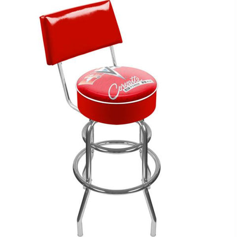 Corvette C2 Red Padded Swivel Bar Stool with Back
