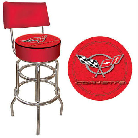 Corvette C5 Padded Bar Stool with Back - Red