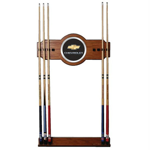Chevrolet 2 piece Wood and Mirror Wall Cue Rack