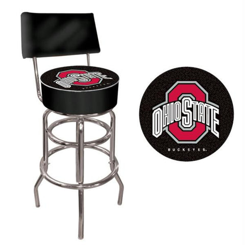 The Ohio State University Padded Bar Stool-Back - Black