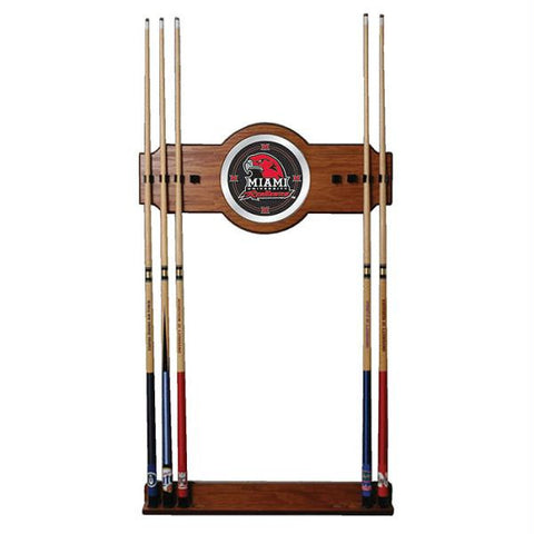 Miami University Ohio Wood and Mirror Wall Cue Rack