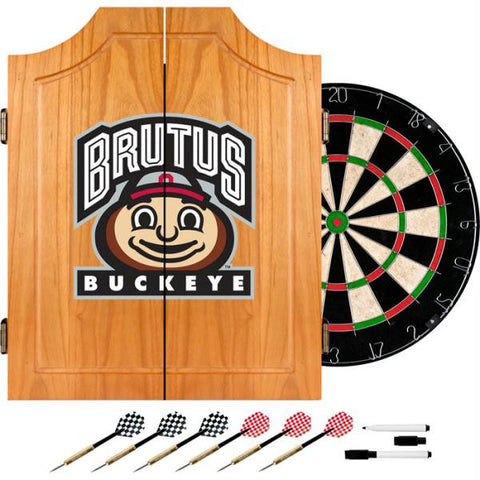 Ohio State University Dart Cabinet Includes Darts and Board