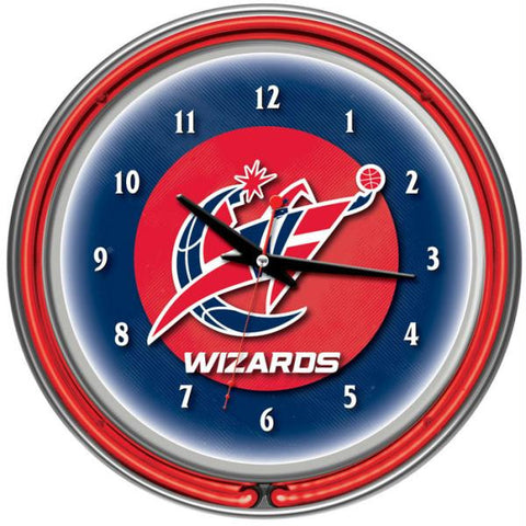 Washington Wizards NBA Chrome Double Ring Neon Clock