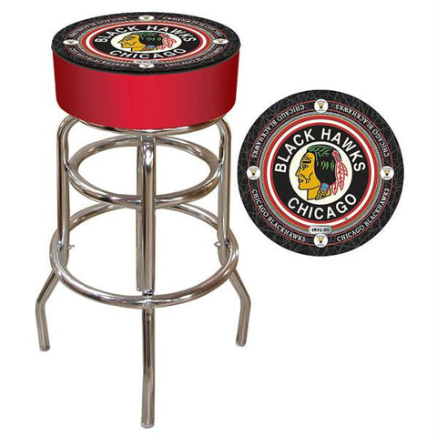 NHL Throwback Chicago Blackhawks Padded Bar Stool