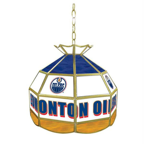 NHL Edmonton Oilers Stained Glass Tiffany Lamp - 16 inch dia