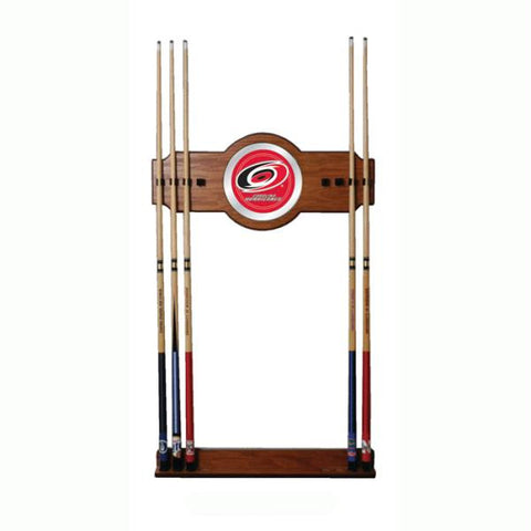 NHL Carolina Hurricanes 2 piece Wood and Mirror Wall Cue Rac