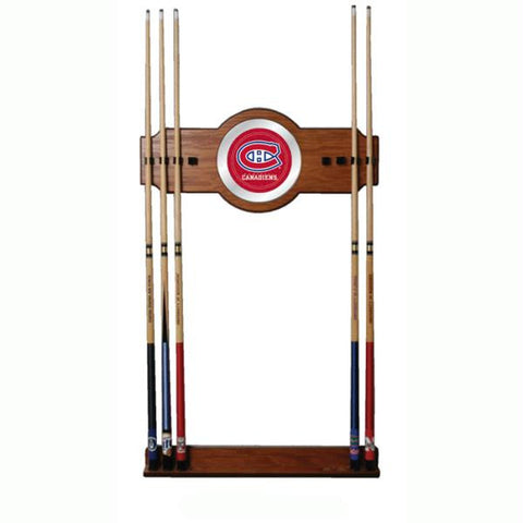 NHL Montreal Canadiens 2 piece Wood and Mirror Wall Cue Rack