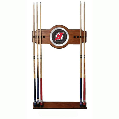 NHL New Jersey Devils 2 piece Wood and Mirror Wall Cue Rack