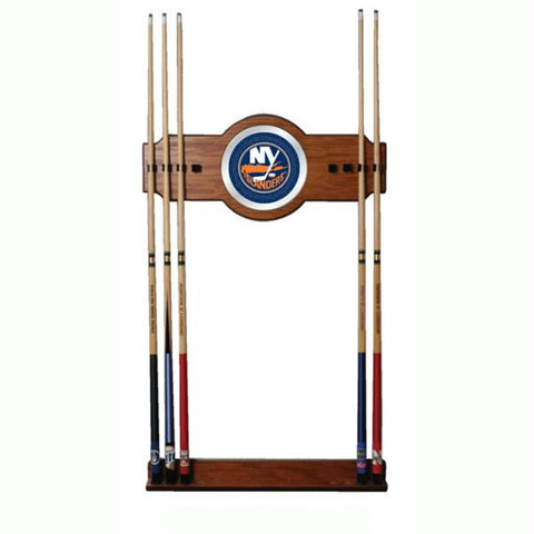 NHL New York Islanders 2 piece Wood and Mirror Wall Cue Rack
