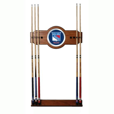 NHL New York Rangers 2 piece Wood and Mirror Wall Cue Rack
