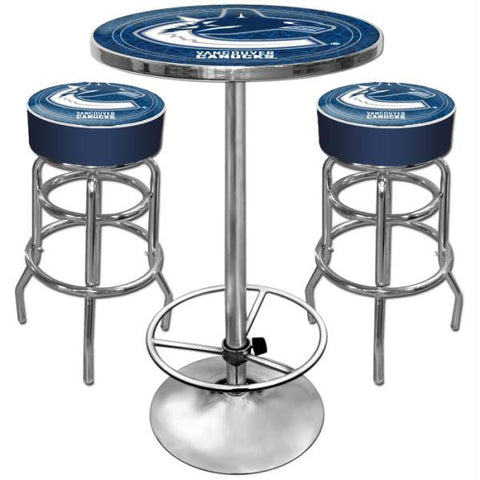 Vancouver Canucks Gameroom Combo - 2 Bar Stools and Table