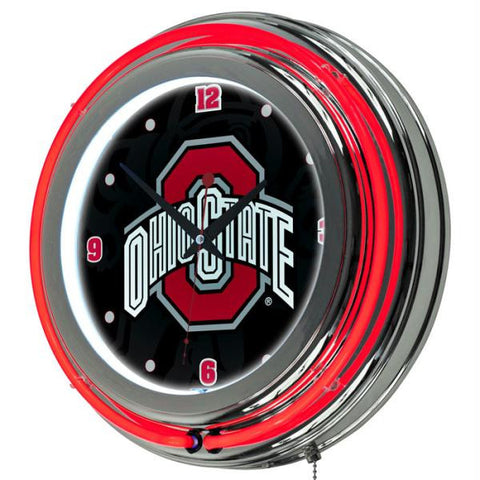 Ohio State Shadow Brutus Chrome Double Ring Neon Clock