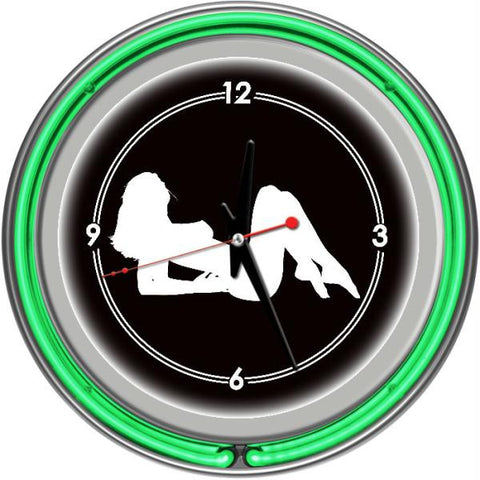 Shadow Babes - A Series - Clock w- Two Neon Rings - Green