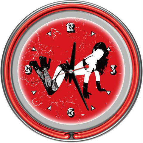 Shadow Babes - B Series - Clock w- Two Neon Rings - Red