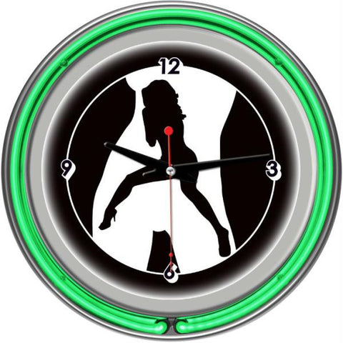 Shadow Babes - C Series - Clock w- Two Neon Rings - Green