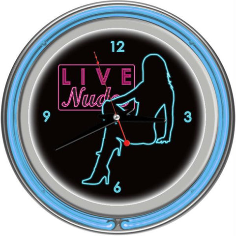 Shadow Babes - D Series - Clock w- Two Neon Rings - Blue