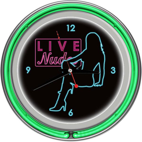 Shadow Babes - D Series - Clock w- Two Neon Rings - Green