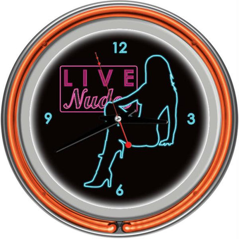 Shadow Babes - D Series - Clock w- Two Neon Rings - Orange