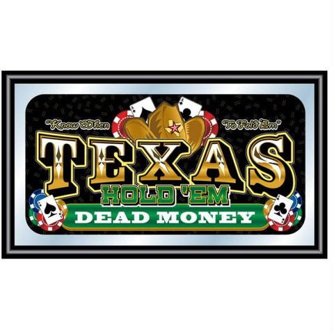 Texas Hold 'em Framed Poker Mirror - DEAD MONEY