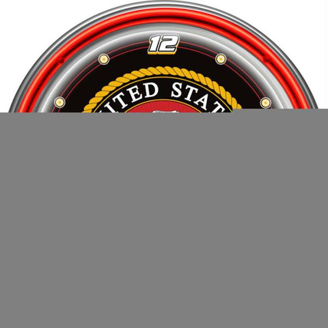 United States Marine Corps Chrome Double Ring Neon Clock