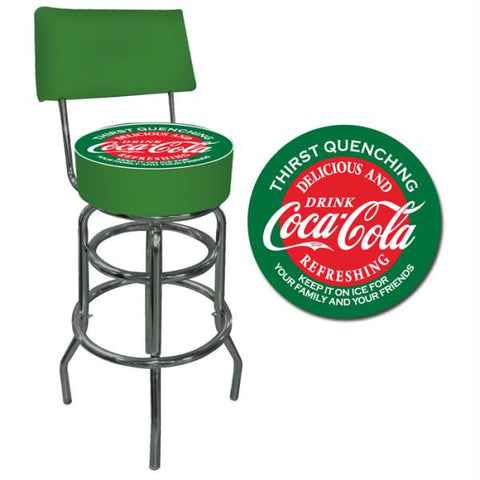 Red & Green Coca Cola Pub Stool with Back