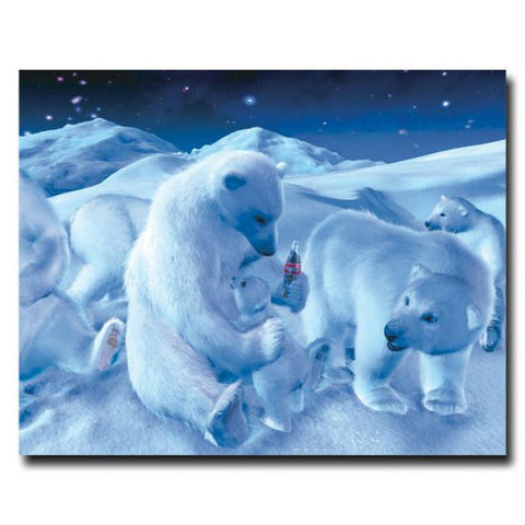 Coke Polar Bear Sitting w- Cub and Bottle - 19 x 24 Inches