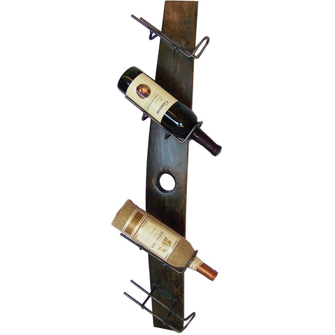 4 Bottle Tilted Wine Holder Wall Rack (Made from Wine Barrels)